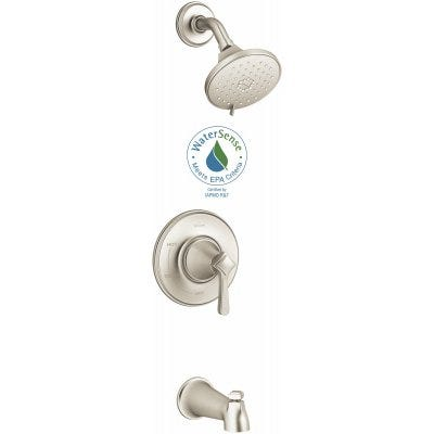 Georgeson Bath/Shower Faucet, Single Handle, With Showerhead, Brushed Nickel
