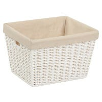 Paper Rope Storage Tote With Liner, White, 10 x 12 x 8-In.