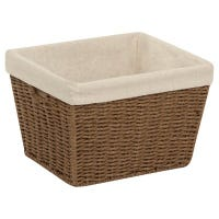 Paper Rope Storage Tote With Liner, Brown, 10 x 12 x 8-In.