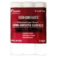Paint Roller Cover, For Semi-Smooth Surface, 9 x 3/8-In., 3-Pk.
