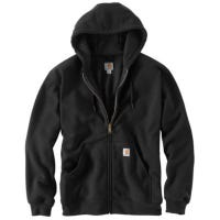 Rutland Hooded Sweatshirt, Thermal-Lined, Zip-Front, Black, Small