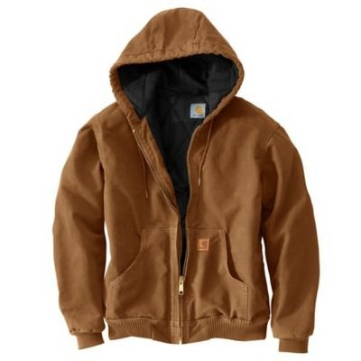 Image of Active Quilted Flannel-Lined Jacket With Hood, Brown, XL