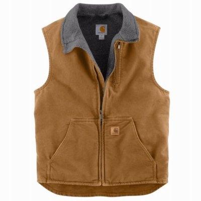 Image of Mock Neck Vest, Brown, Large