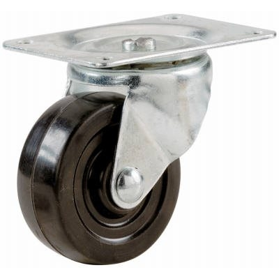 Image of Swivel Plate Caster, Rubber, 2-In.