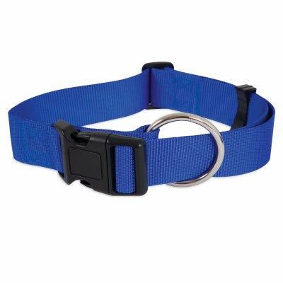 Adjustable Nylon Dog Collar, Blue, 1.5 x 20-30-In.