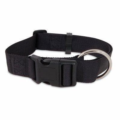Nylon Dog Collar, Black, 1 x 20-In.