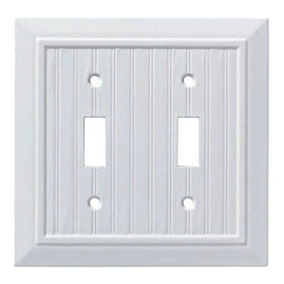Classic Beadboard Single Double Switch Wall Plate, White