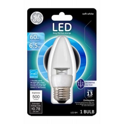 LED Decorative Light Bulb, Soft White, Clear, 500 Lumens, 6.5-Watts