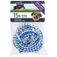 Pet Tie Out, Nylon, Small, Assorted Colors, 3/8-In. x 15-Ft.