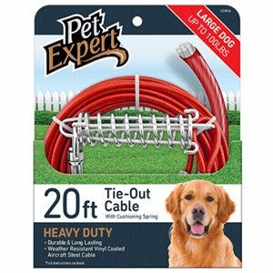 Dog Tie Out, Heavy Weight Steel Aircraft Cable, 20-Ft.