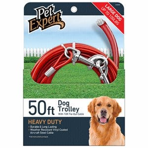 Dog Tie Out, Heavy Weight Steel Aircraft Cable, 50-Ft.