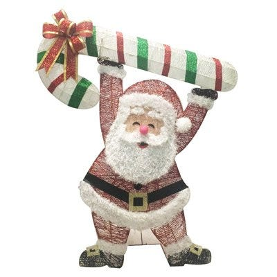 3D Glitter Santa With Candy Cane, 48-In.