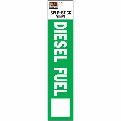 Self-Adhesive Diesel Fuel Safety Sign, Vinyl, 2 x 8-In.