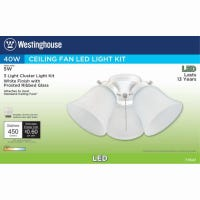 LED Ceiling Fan Light Kit, White With Frosted Ribbed Glass