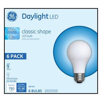 LED Light Bulbs, Daylight, 760 Lumens, 8-Watts, 6-Pk.
