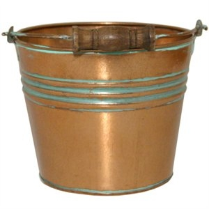 Image of Planter With Handle, Banded Metal, Vintage Copper, 6-In.