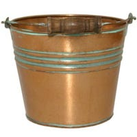 Planter With Handle, Banded Metal, Vintage Copper, 6-In.
