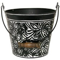 Planter With Handle, Charcoal Floral Metal, 12-In.