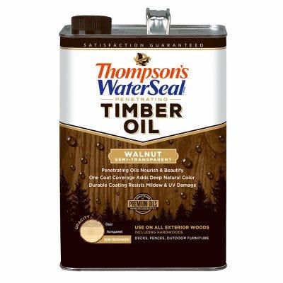 Penetrating Timber Oil, Exterior Wood Protector, Walnut, Semi-Transparent, 1-Gal.