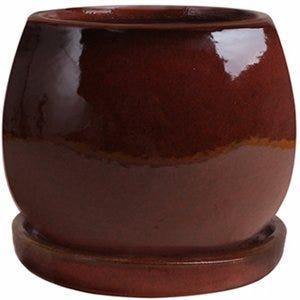 Artisan Planter, Red Ceramic, 6-In.