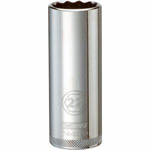 Metric Deep Socket, 12-Point, 1/2-In. Drive, 22mm