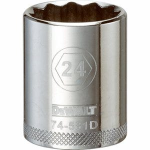 Metric Shallow Socket, 12-Point, 1/2-In. Drive, 24mm