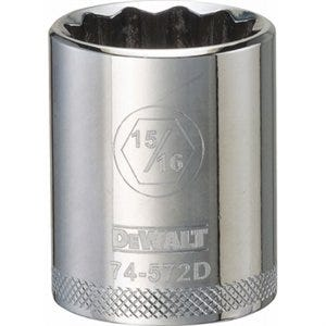 SAE Socket, Shallow, 12-Point, 15/16-In., 1/2-In. Drive