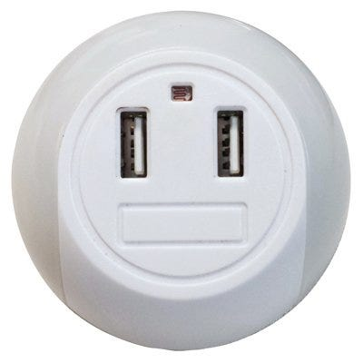LED Night Light + 2 USB Ports