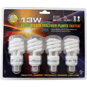 Sunblaster Compact Fluorescent Grow Light, 13-Watt, 4-Pk.