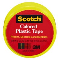 Plastic Tape, Yellow, 3/4 x 125-In.
