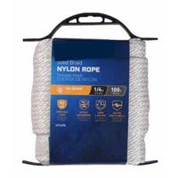 Nylon Rope, Smooth Braided, White, 1/4-In. x 100-Ft.