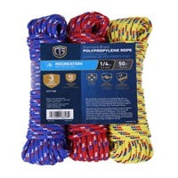 Braided Rope, 1/4-In. x 50-Ft., 3-Pk.