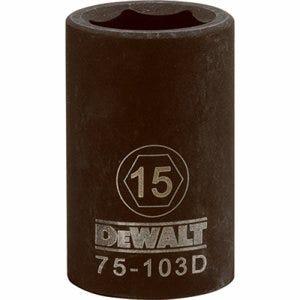 Metric Impact Socket, 6-Point, Black Oxide, 1/2-In. Drive, 15mm