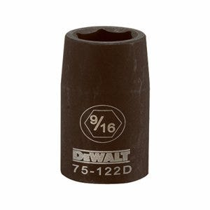 SAE Impact Socket, 6-Point, Black Oxide, 1/2-In. Drive, 9/16-In.