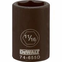 SAE Impact Socket, 6-Point, Black Oxide, 1/2-In. Drive, 11/16-In.