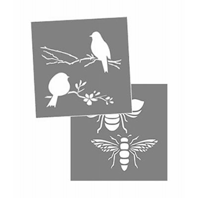 Image of Americana Decor Bees/Birds Stencil, 8 x 8-In.