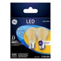 Ceiling Fan LED Light Bulbs, Soft White, Clear, Dimmable, 500 Lumens, 5-Watts, 2-Pk.