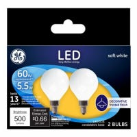 Decorative LED Light Bulbs, Candelabra Base, Soft White, Frosted, Dimmable, 500 Lumens, 5.5-Watts, 2-Pk.
