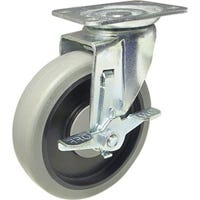 TPR Swivel Plate Caster With Side Grip Brake, Gray, 5-In.