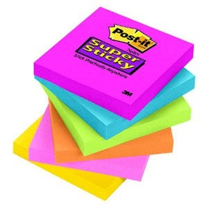 Post-It Notes, Super Sticky, Assorted Colors, 3 x 3-In., 90-Ct.
