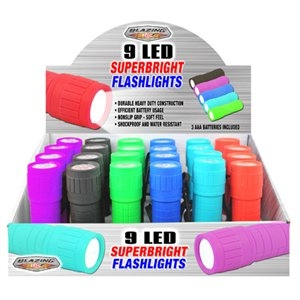 Image of 9 LED Super Bright Flashlight, Assorted Colors, 3 AA Batteries