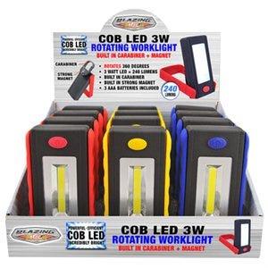 COB LED Rotating Work Light, 3-Watt, Assorted Colors