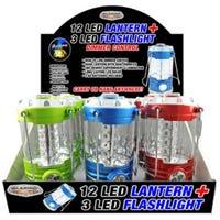 12 LED Lantern / 3 LED Flashlight, Assorted Colors