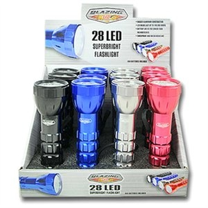 Image of 28 LED Flashlight, Aluminum, Assorted Colors, 3 AAA Batteries