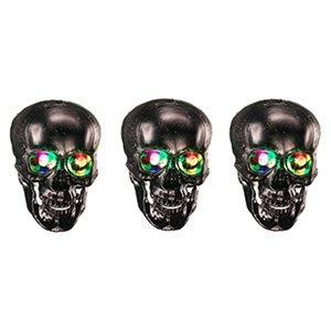 Image of Halloween Lighted Skulls With Barbed Wire, 10-Ct.