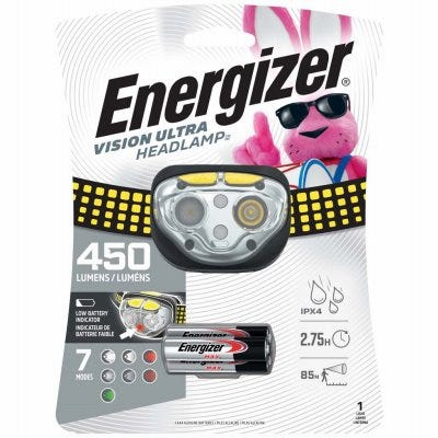 Vision Ultra Head Light, Spot & Flood Mode, Includes 3 AAA Batteries
