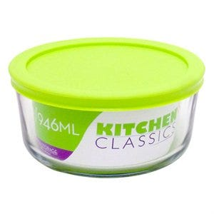 Food Storage Bowl, Tempered Glass, 4-Cup
