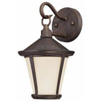 LED Victorian Wall Light Fixture, Bronze with Amber Frosted Glass