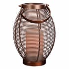 Patio Lantern, Oval Metal Wire Basket, LED Flameless Candle, 10-In.