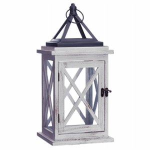 Image of Patio Lantern, Driftwood & Metal, LED Flameless Candle, 18.9-In.